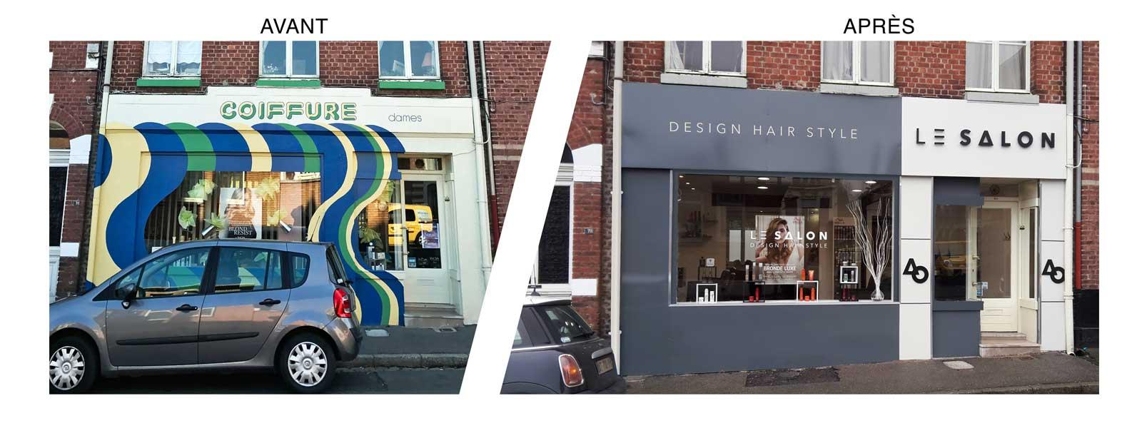 habillage facade salon de coiffure
