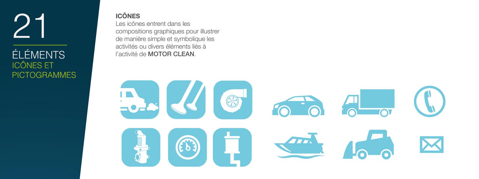 icônes de la charte graphique Motor Clean