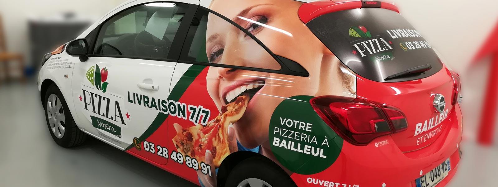 lettrage véhicule publicitaire pizzeria