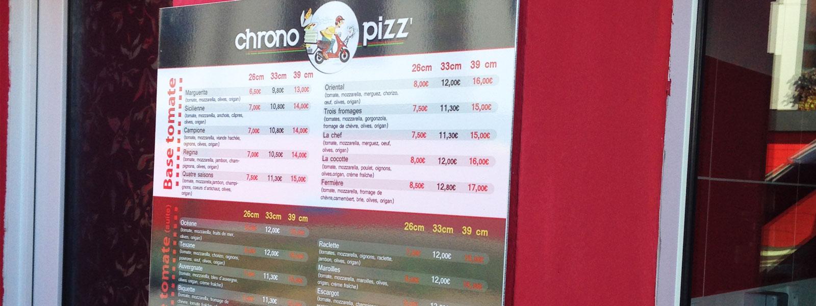 panneau murale menu pizza