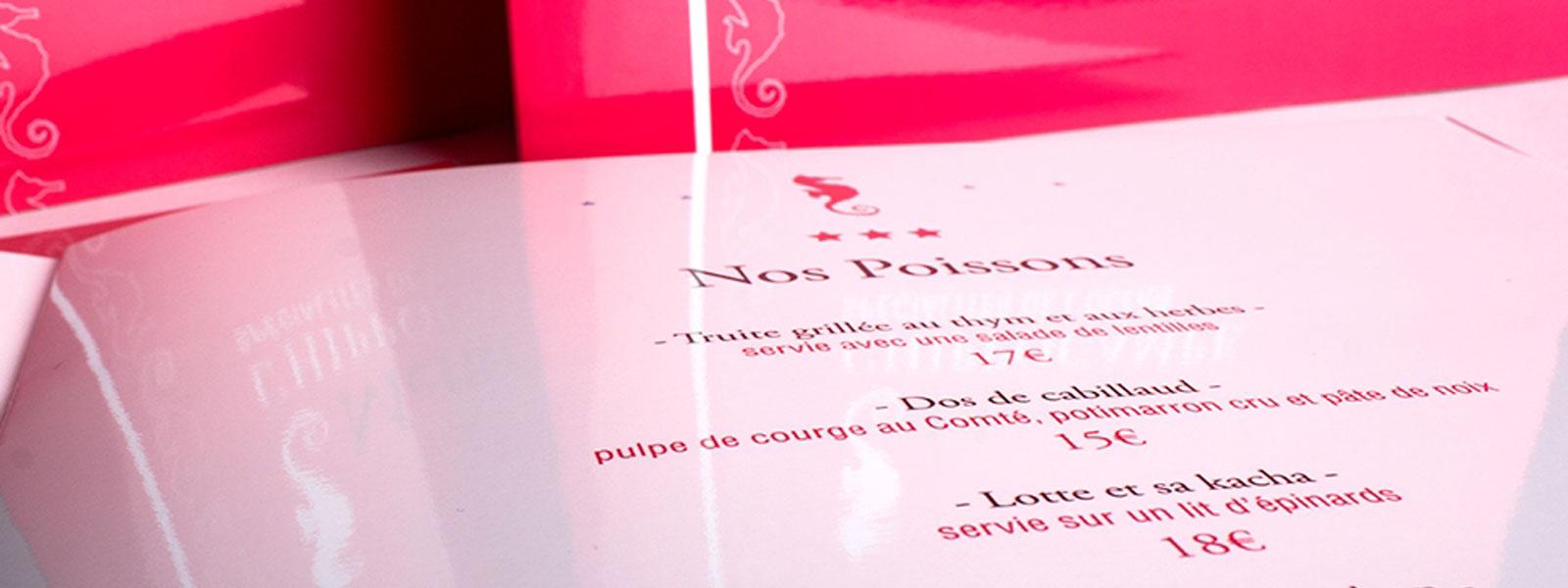 menu restaurant qualité
